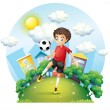 A soccer player practicing near the high buildings — Stock Vector #24928099