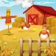 A farm with two chickens and three chicks — Stock Vector