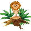 A little lion standing on a stump with leaves - Vektorgrafik