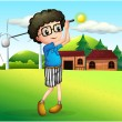 A little boy playing golf — Stock Vector