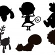 Different animals in black, gray and brown colors — Stock Vector