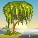 A big tree at the road — Stock Vector