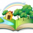 Stock Vector: Book with story of house at forest