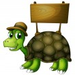 A turtle with a wooden signboard at the back — Stock Vector