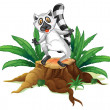 A playful lemur above the wood - Stock Vector