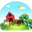A cow and a carriage in front of a barn in the farm - Stock Vector