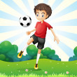 Stock Vector: Boy practicing soccer at hilltop
