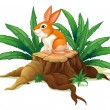 A bunny sitting on a stump with green leaves  — Stock Vector