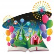 A book with an image of a carnival with balloons - Stock Vector