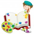 A boy painting a book — Stock Vector #24929293