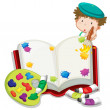 Stock Vector: A boy painting a book
