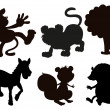 Animals in black colored images - Stock Vector