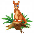 A kangaroo standing on a stump with leaves — Stock Vector