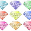 Different colors of diamonds - Imagens vectoriais em stock
