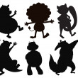 Silhouettes of different wild animals - Stock Vector