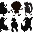 Silhouettes of different wild animals — Stock Vector