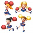 Stock Vector: Four cheerdancers with their pompoms