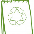 A green notebook with the symbols for recycling - 图库矢量图片