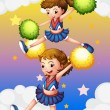 Stock Vector: Two cheerdancers with their pompoms