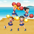 A cheering squad performing at the beach — Stock Vector
