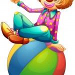 A clown sitting on a ball — Stock Vector #24929613