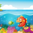 A sea with colorful coral reefs and fishes — Stock Vector #24929679