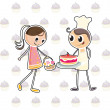 A girl with a basket of flowers and a boy with a cake - Stock Vector