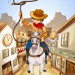 Royalty-Free Stock Vector Image: A village with a young boy riding in a horse