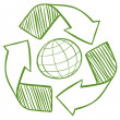 A globe surrounded by recycling signs - Stock Vector