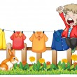 A young boy jumping near the hanging clothes - Stock Vector
