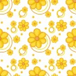Vector de stock : Yellow flowery design