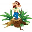 Stock Vector: A male monkey above a stump