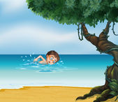 A boy swimming at the beach with an old tree — Stock Vector