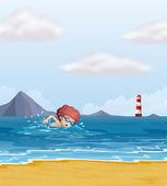 Dziecko pływać na plaży — Wektor stockowy