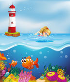 A girl swimming near the lighthouse — Stock Vector