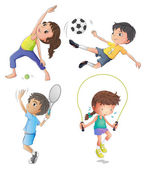 Two young girls exercising and two young boys playing — Stockvector