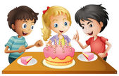 A table with cake surrounded by three kids — Stock Vector