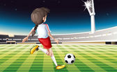 A girl playing soccer at the field — Stock Vector
