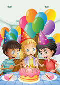Three kids celebrating a birthday — Stock Vector