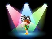 Sahne ışıkları ile banner tutan bir kız — Stok Vektör