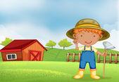 鍬を保持している農夫 — ストックベクタ