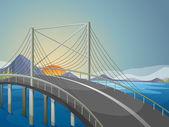 A long bridge — Stock Vector