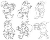 Different drawings of Santa Claus giving gifts — Stock Vector