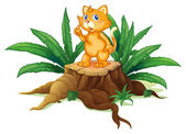 A cat standing on a stump with leaves — Stock Vector