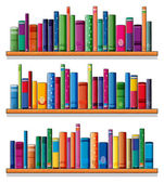 Wooden shelves with books — Stock Vector