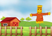 A scarecrow inside the wooden fence — Stock Vector