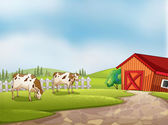 Two cows at the farm with a barn and fence — Stock Vector