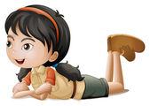 A girl lying down — Stock Vector