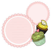An empty stationery with cupcakes — Stock Vector
