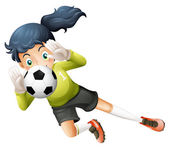 A girl catching the soccer ball — Stock Vector